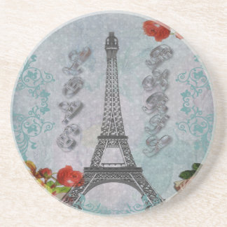 Beautiful vintage Love Paris Eiffel Tower Coasters