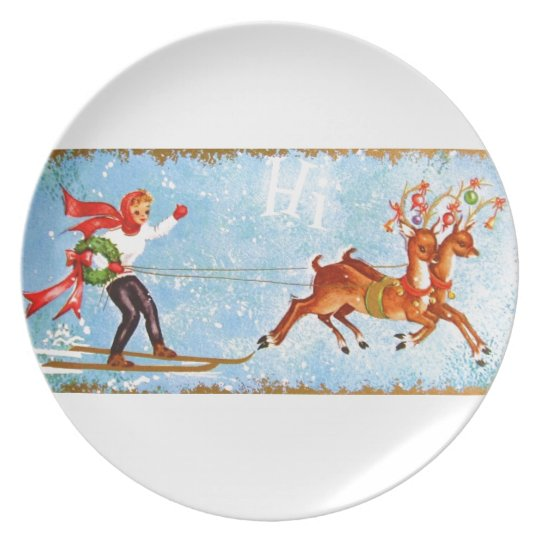 Beautiful Vintage Mid Century Reindeer & Girl Plate