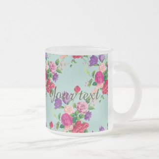 beautiful,vintage,mint,floral,pink,cute,girly,chic frosted glass mug