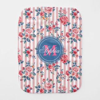 Beautiful vintage monogram roses floral stripes burp cloth