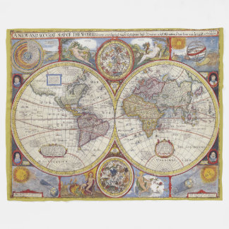 Beautiful Vintage old world Map Fleece Blanket