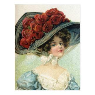 Beautiful vintage painted lady, hat silk roses postcard