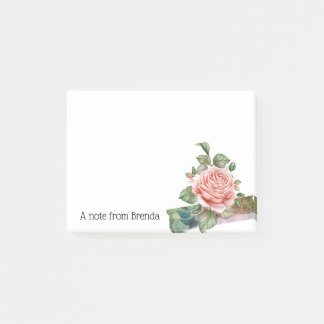 Beautiful Vintage Pink Rose Personalised Post-it Notes