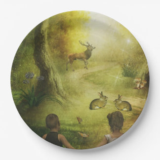 Beautiful Vintage Rabbit Woodland Scene Easter 9 Inch Paper Plate