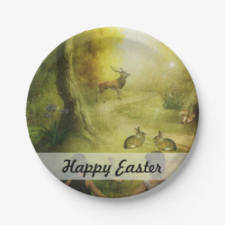 Beautiful Vintage Rabbit Woodland Scene Easter Paper Plate