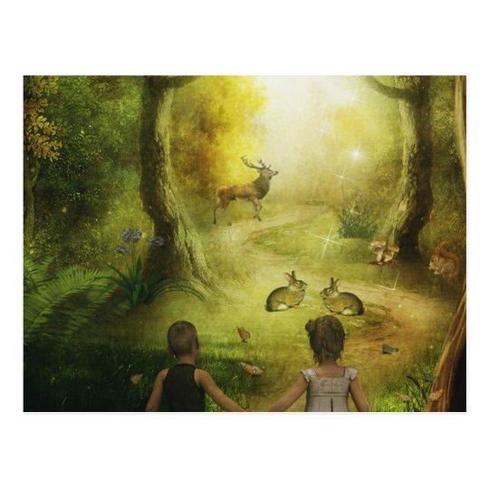 Beautiful Vintage Rabbit Woodland Scene Easter Postcard