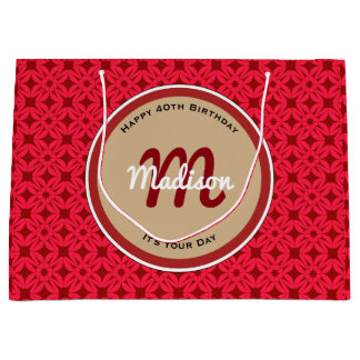 Beautiful Vintage Red Birthday w/Personalization Large Gift Bag