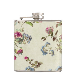 Beautiful vintage rose floral pattern shabbychic hip flask