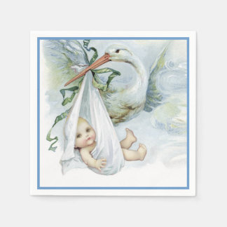 Beautiful Vintage Stork Baby Boy Shower Disposable Serviette