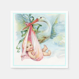 Beautiful Vintage Stork Baby Girl Shower Disposable Serviettes