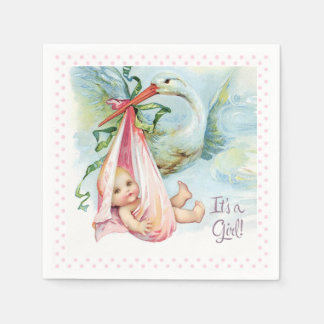 Beautiful Vintage Stork Baby Girl Shower Disposable Napkins