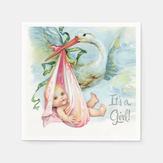 Beautiful Vintage Stork Baby Girl Shower Paper Napkins