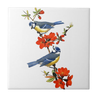 Beautiful vintage tree blossom red flowers birds small square tile