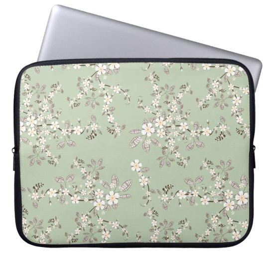 Beautiful vintage tree blossom white flowers laptop sleeve