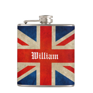 Beautiful Vintage UK Flag Union Jack - Custom Name Flasks