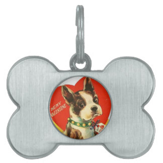 Beautiful Vintage Valentine Boston Terrier Puppy Pet Name Tags