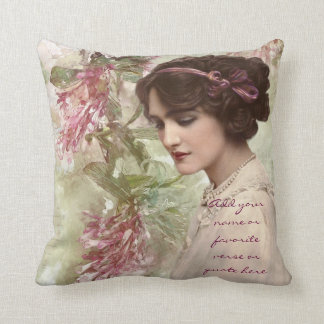 Beautiful Vintage Victorian Lady Actress Portrait Cushion
