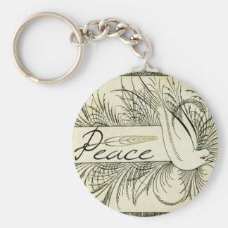 Beautiful Vintage white dove surrounded by foliage Basic Round Button Key Ring
