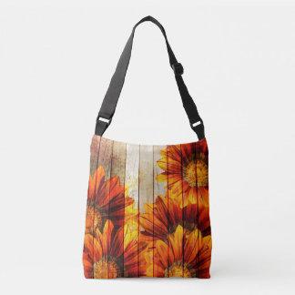 Beautiful Vintage Wood Flowers Cross Body Tote Tote Bag