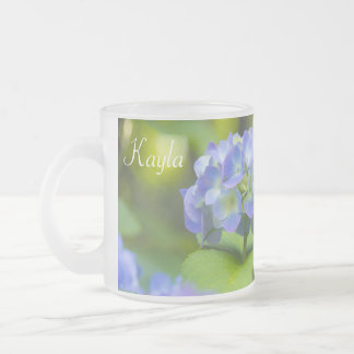 Beautiful Violet Hydrangea Green Leaf Bokeh Lights Frosted Glass Mug