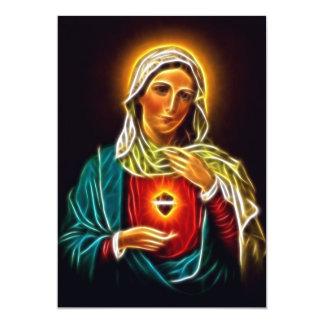 Beautiful Virgin Mary Sacred Heart 13 Cm X 18 Cm Invitation Card