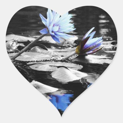 Beautiful Water Lilies Heart Sticker