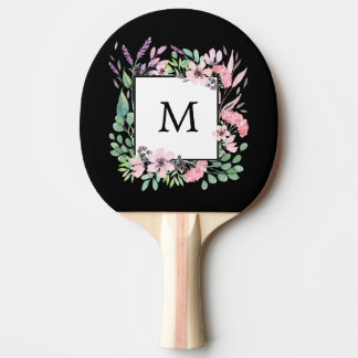 Beautiful Watercolor Floral on Black with Monogram Ping Pong Paddle