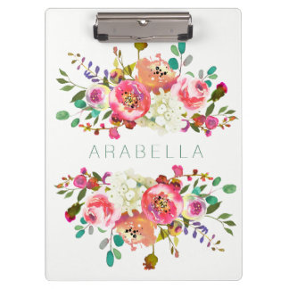 Beautiful Watercolor Floral with your Name Clipboard