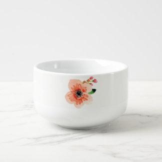 Beautiful Watercolor Flower   Soup Bowl