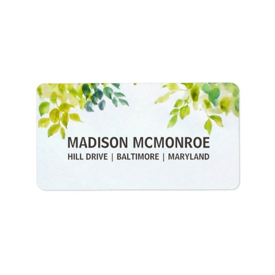 Beautiful Watercolor Leaves Wedding Address Label