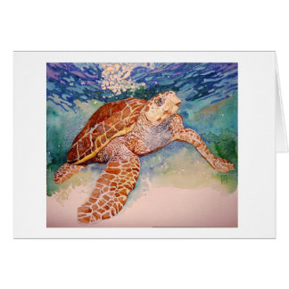 Beautiful watercolor Loggerhead Sea Turtle Card