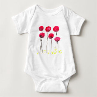 Beautiful watercolor poppies baby bodysuit
