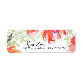 Beautiful Watercolor Poppy Flower Design Return Address Label