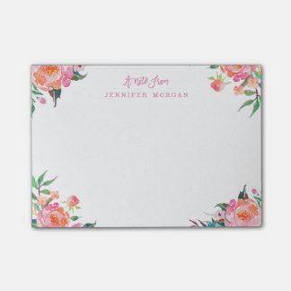 Beautiful Watercolor Purple Pink Flowers Post-it Notes