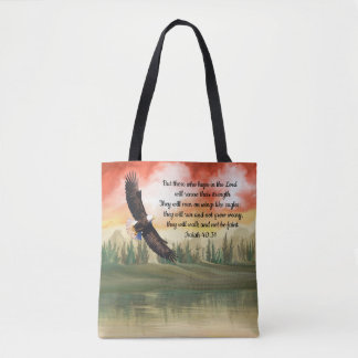 Beautiful Watercolor Soaring Eagle Isaiah 40:31 Tote Bag