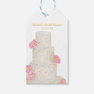 Beautiful Watercolor Wedding Cake Bridal Shower Gift Tags