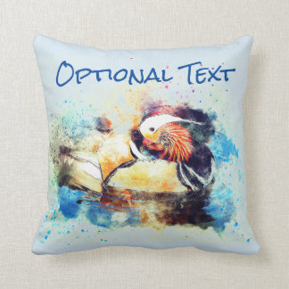 Beautiful Watercolor Wood Duck Throw Pillow