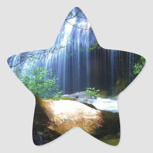 Beautiful Waterfall Jungle Landscape Star Stickers