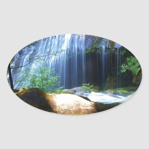Beautiful Waterfall Jungle Landscape Oval Sticker