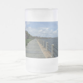 Beautiful Waterfront Walkway Frosted Glass Beer Mug