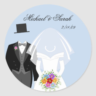 Beautiful Wedding Couple on Blue Stickers
