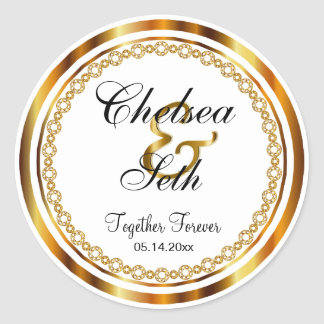 Beautiful Wedding Day in Gold, White Faux Diamonds Round Sticker
