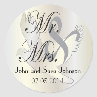 Beautiful Wedding Dove | Pesonalize Round Stickers