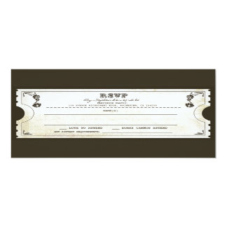 beautiful wedding vintage ticket RSVP 10 Cm X 24 Cm Invitation Card