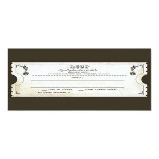 beautiful wedding vintage ticket RSVP 10 Cm X 24 Cm Invitation Card
