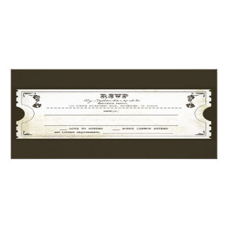 beautiful wedding vintage ticket RSVP Personalized Invitation