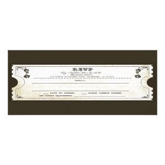 beautiful wedding vintage ticket RSVP Personalized Invitation
