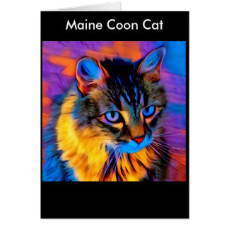 Beautiful Whimsical Artistic Tabby Maine Coon Cat Card
