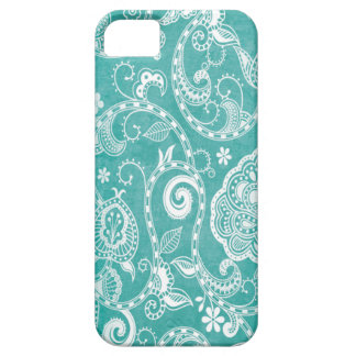 Beautiful white and blue flowers leaves and swirls iPhone 5 cover
