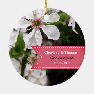 Beautiful White Blossom Wedding Ceramic Ornament